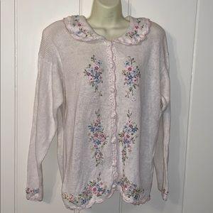 Vtg 90s Carolyn Taylor embroidered cardigan